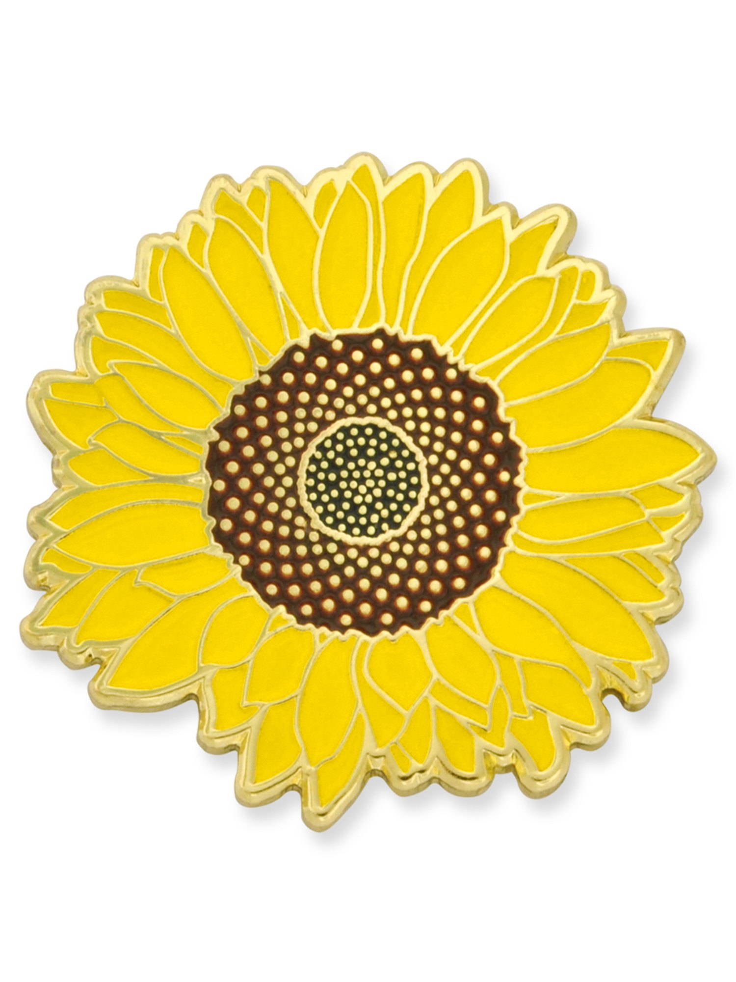 PinMart Detailed Yellow Sunflower Summer Enamel Lapel Brooch Pin