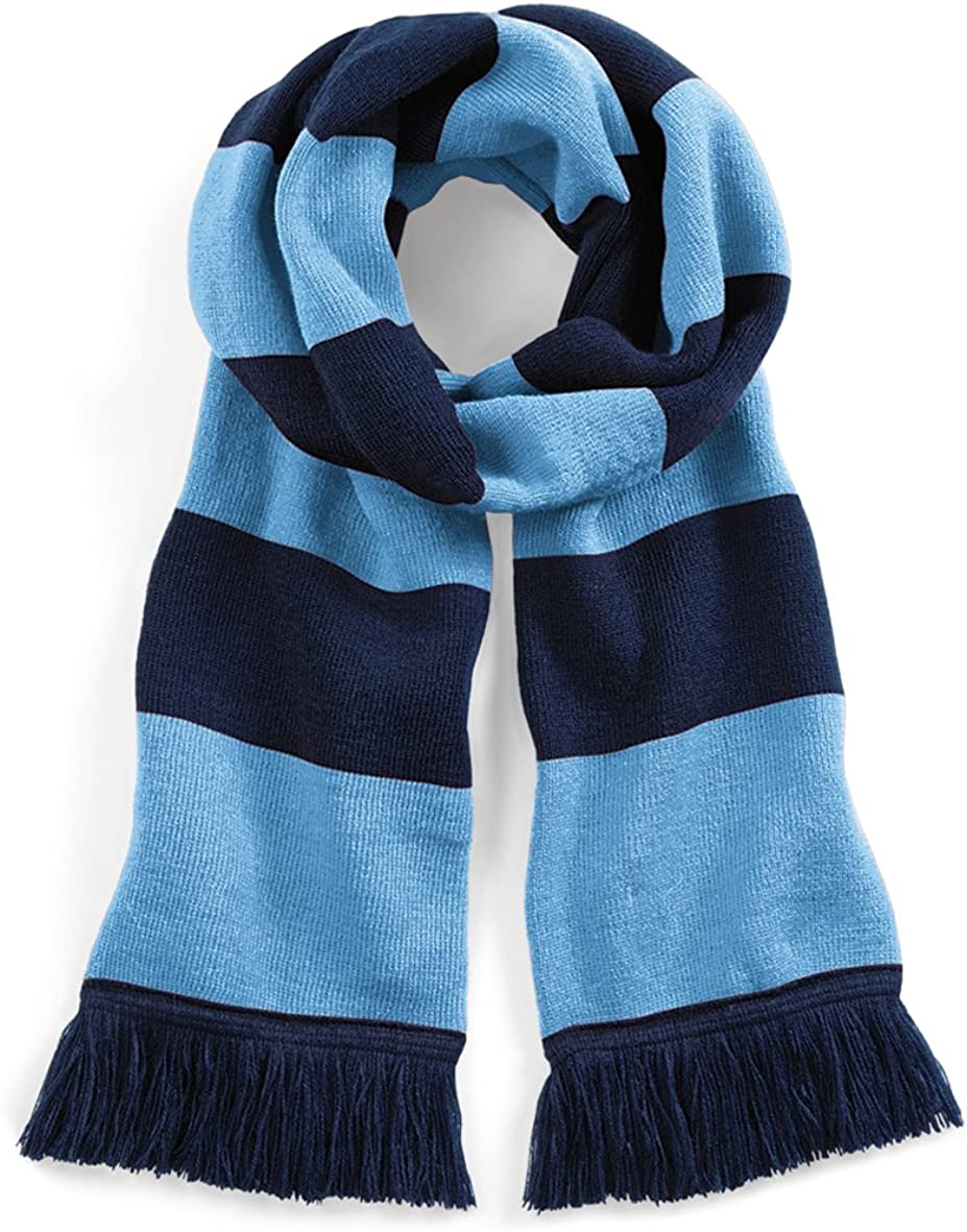 Beechfield Varsity Unisex Winter Scarf (Double Layer Knit) (One Size) (French Navy/Sky Blue): Clothing