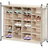 StorageManiac 5-Tier 20-Pair Shoe Rack, 20-Compartment Stackable Free Standing Cube Organizer