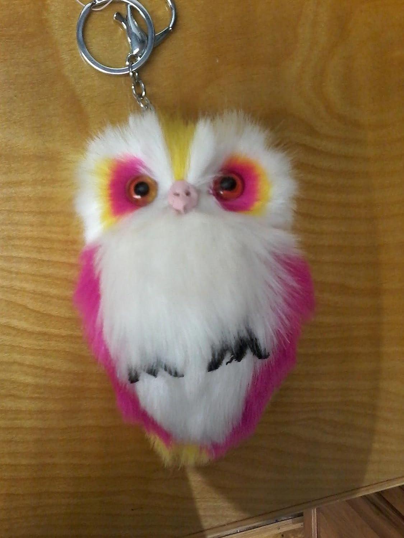 Pink yellow fluffy owl keychain zipper pull