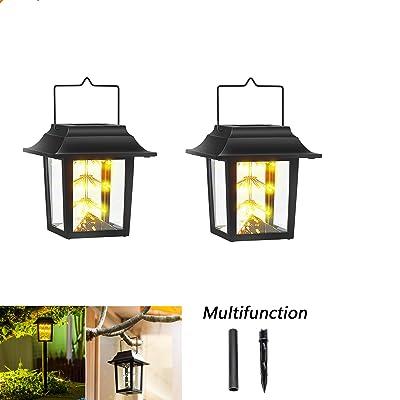 Solar Lanterns Lights with 45 Warm White LED Outdoor Garden Lights, Waterproof Umbrella Vintage Lamp, Solar Powered Hanging Lanterns for Patio Pathway Lawn Decor
