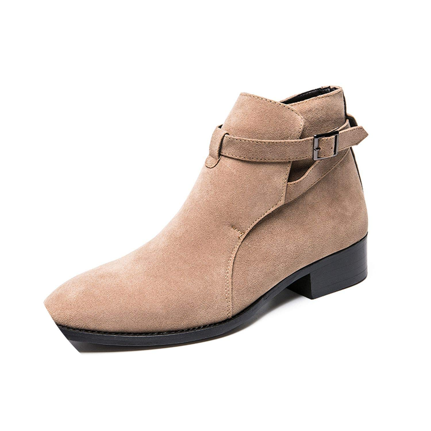 Amazon.com | New-Loft Men Ankle Boots Suede Heel Flock Casual Martin Boots Winter Men High Top Shoes High Heels | Boots