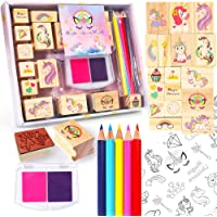 Unicorn Wooden Stamp and Sticker Set for Girls, Stampers, Inkpad, Coloring Pencil, Sticker Included, Arts & Crafts Set…