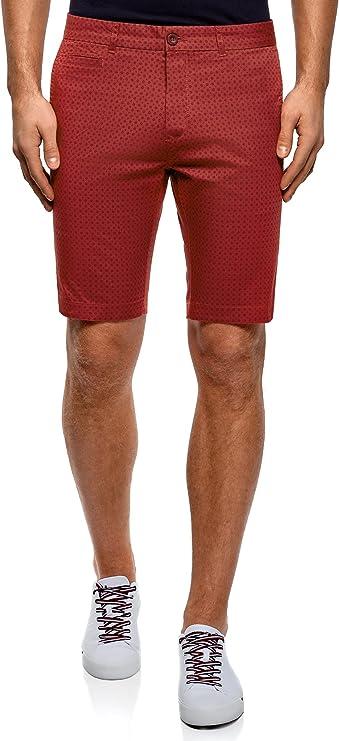 oodji Ultra Hombre Pantalones Cortos Estampados de Algodón