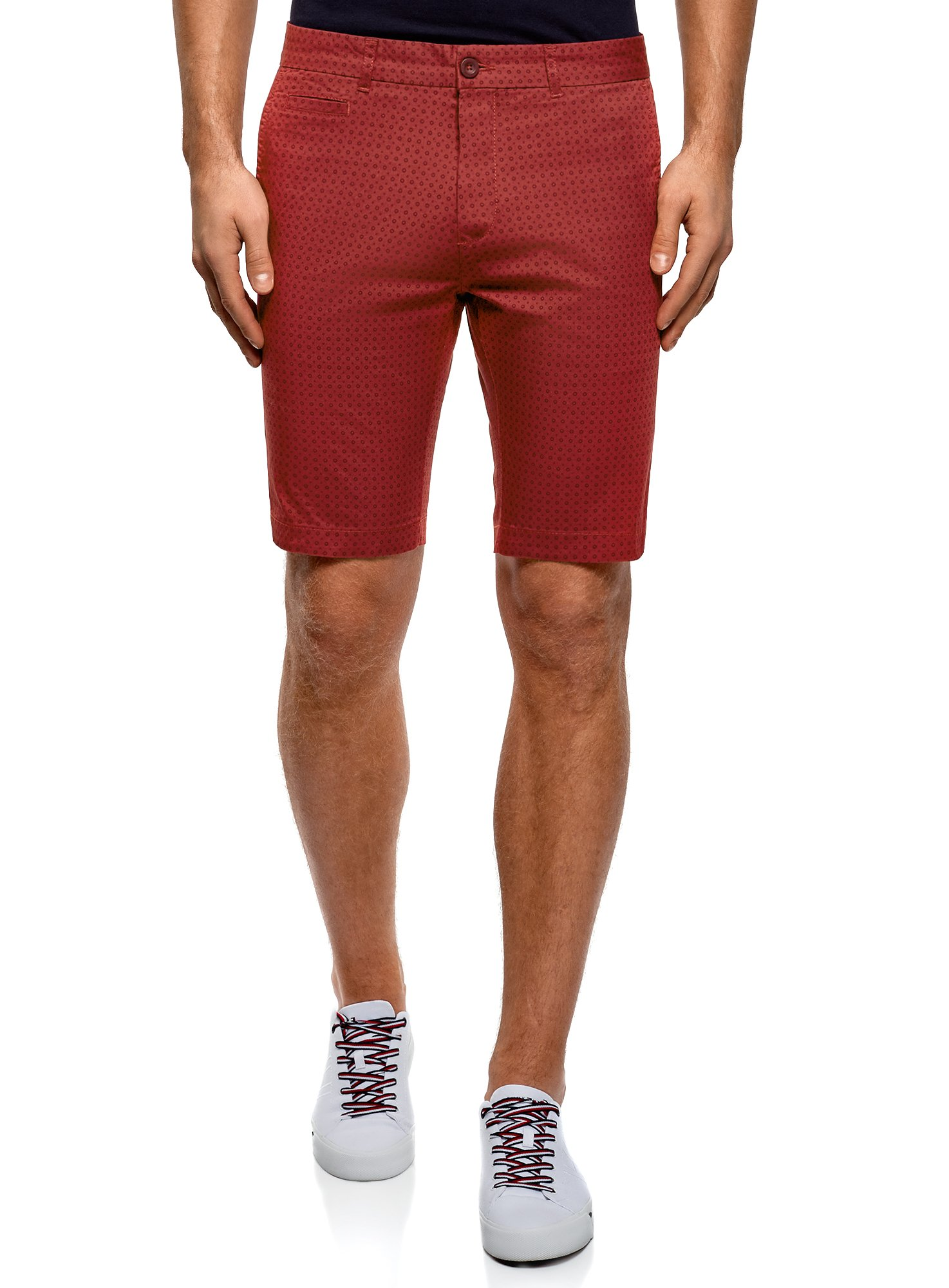 oodji Ultra Men's Printed Cotton Shorts, Red, US 32 / EU 42 / M