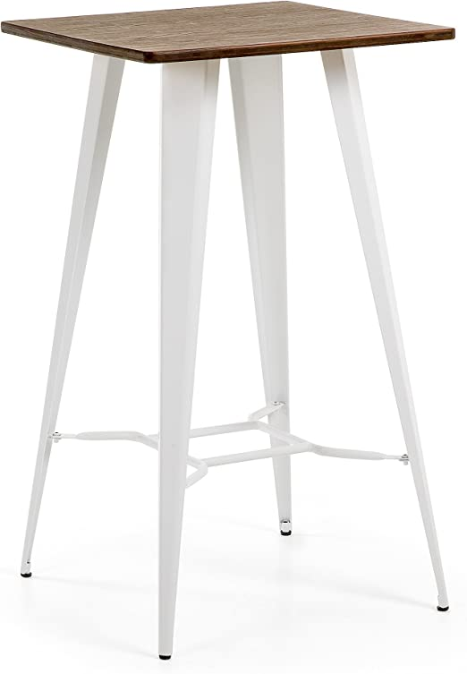 Kave Home - Mesa Alta Malira 60 x 60 cm de Madera y Patas de Acero ...