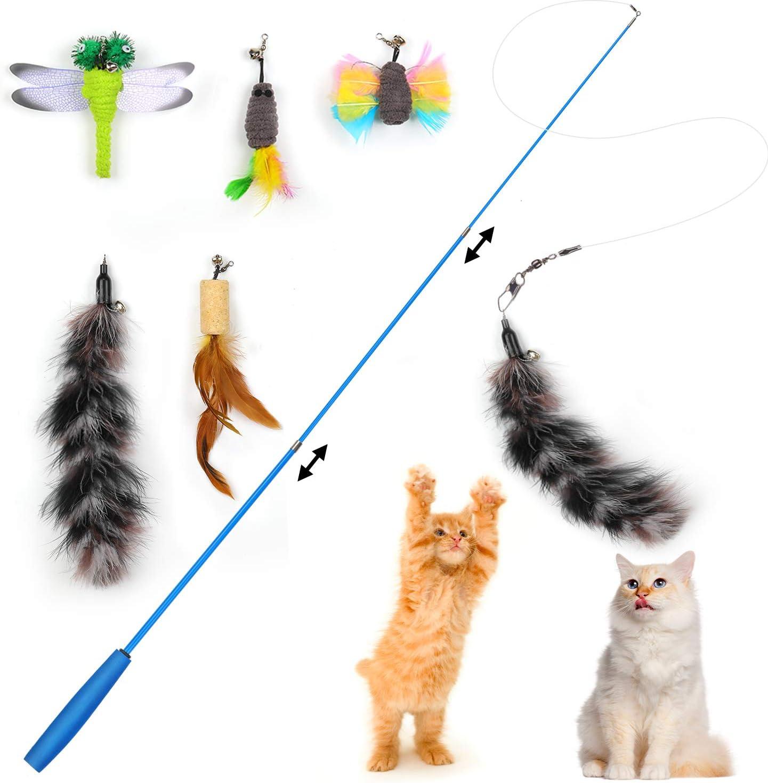 cxnwuggfvsc Juguete de plumas de gato varita retr/áctil para gato con 5 recambios y un gancho de repuesto