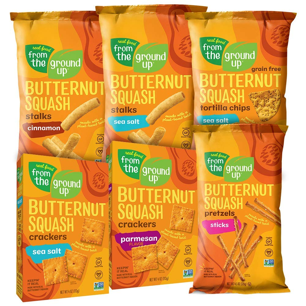 REAL FOOD FROM THE GROUND UP Butternut Squash Crackers, 6 Ct. (Variety Pack)