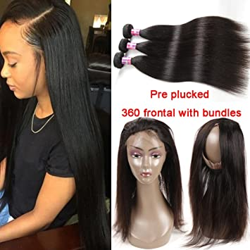 lace frontal pre plucked with bundles
