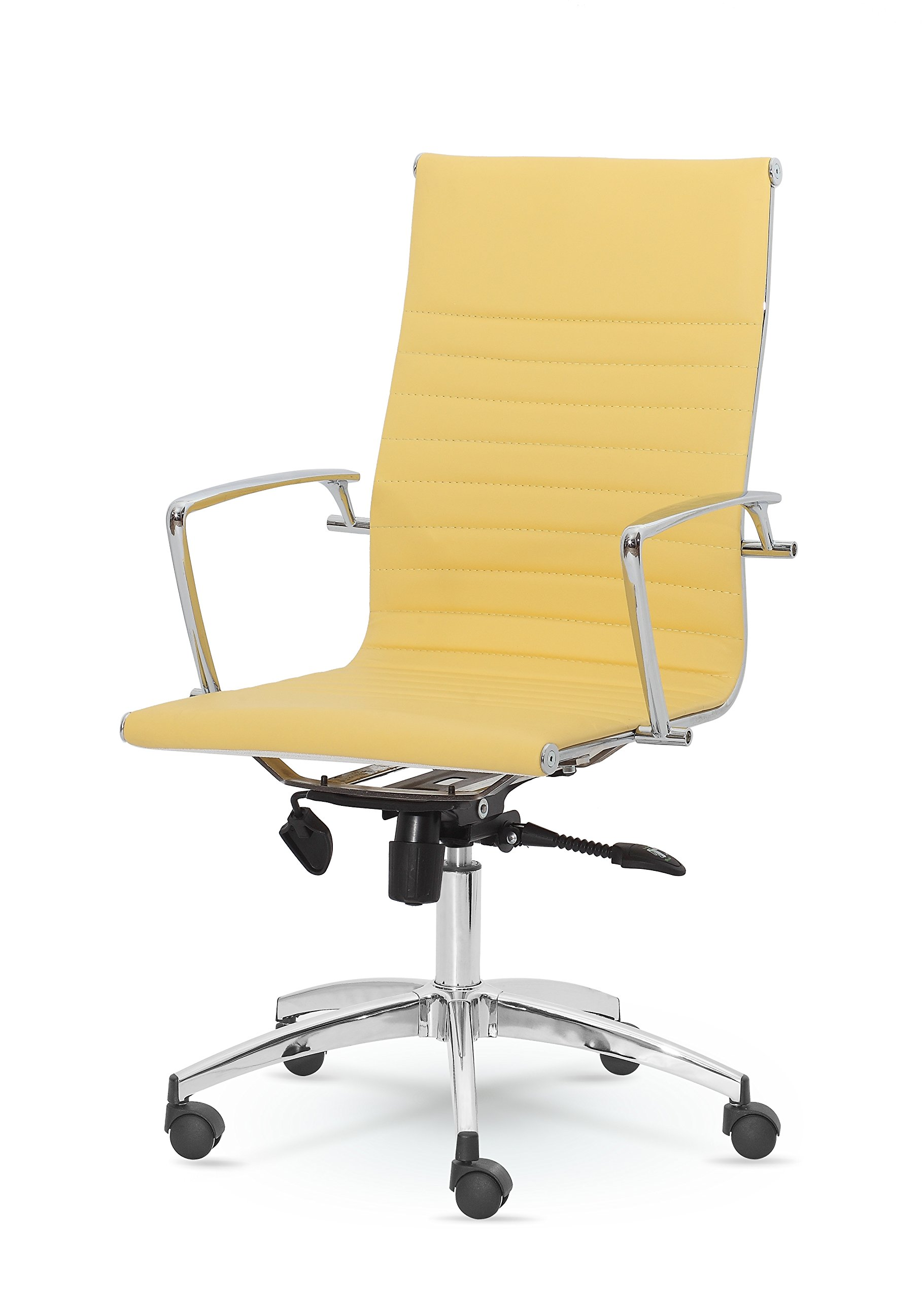 DYNAMIC HIGH-BACK LEATHER EXECUTIVE SWIVEL OFFICE DESK HOME CHAIR MZN-9711 (YELLOW)