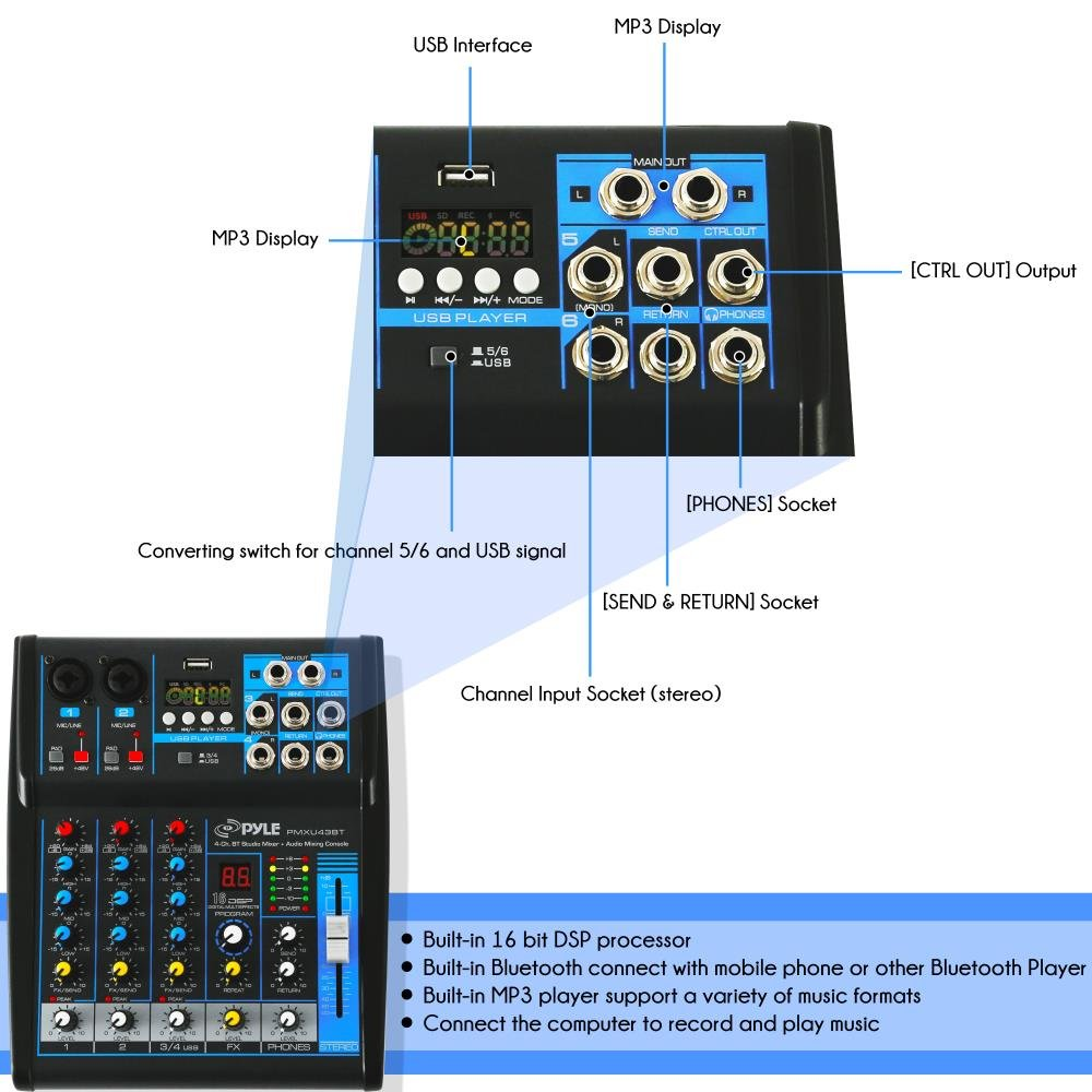 Pyle Professional Audio Mixer Sound Board Console System Wiring Diagram Software Hosa Stereo Cable Interface 4 Channel Digital Usb Bluetooth Mp3 Computer Input 48v Phantom Power