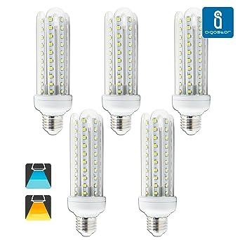 Aigfostar 176075 - Pack de 5 Bombillas LED T3 4U, 15W, casquillo gordo E27