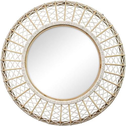 Stratton Home D cor Stratton Home Decor 33.50 Cassie Woven Rattan Wall Mirror, White, Natural