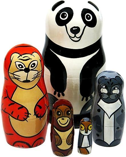 Panda Bear 5 Piece Russian Wood Nesting Doll Matryoshka Stacking Dolls