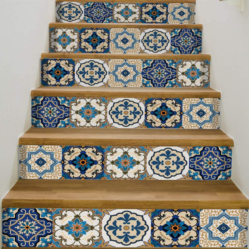 """YIZUNNU Stair Step Decals Stickers Stair Riser Decals Peel and Stick Tile Backsplash Step Contact Paper DIY Tile Decals Staircase Decal Stair Mural Decals 7"""" W x 39"""" L (Set of 6) (Blue Tile Style)"""