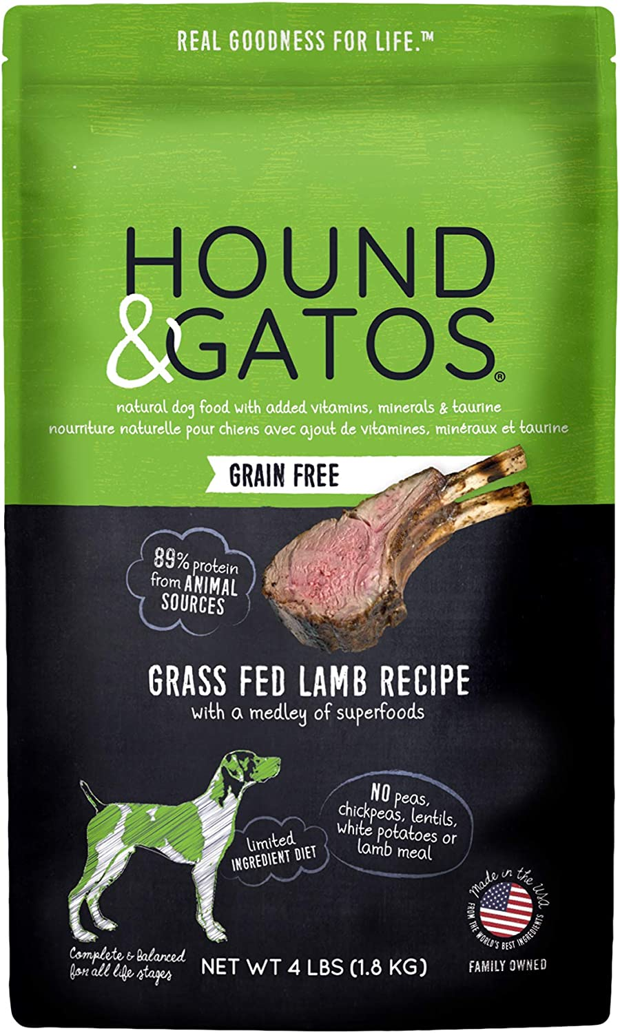 Hound & Gatos Natural Grain-Free Dry Dog Food, Grain-Free Cage Free Lamb, Made in the USA