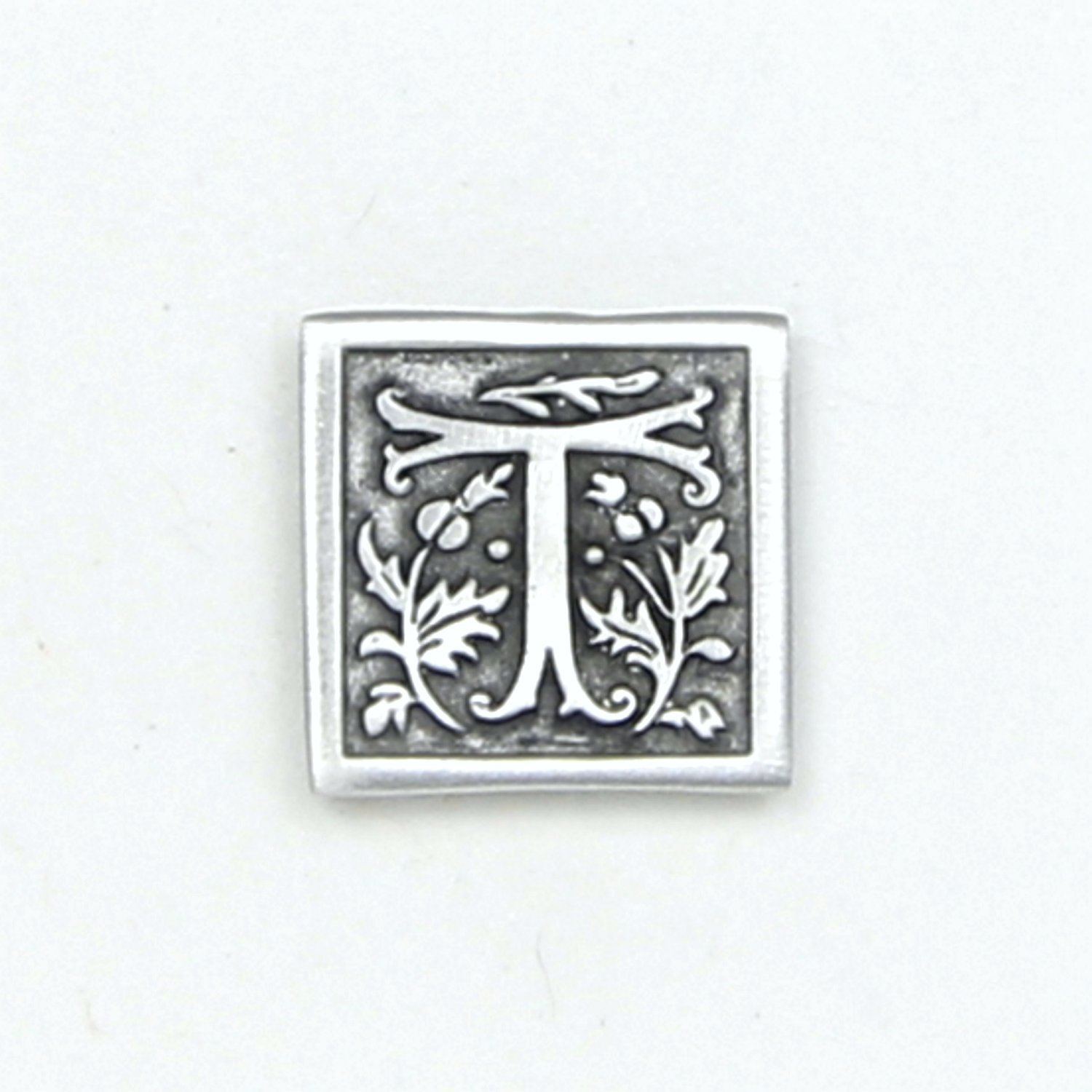 Letter '' T '' Initial Pin - Magnetic Back Closure - No holes in Clothes - Handcrafted Pewter Made in USA - Antique Finished