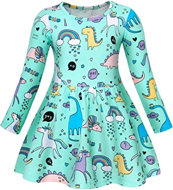 UK Kids Baby Girl Cotton Animal Dinosaur Sleeveless A-line Dress Clothes Summer