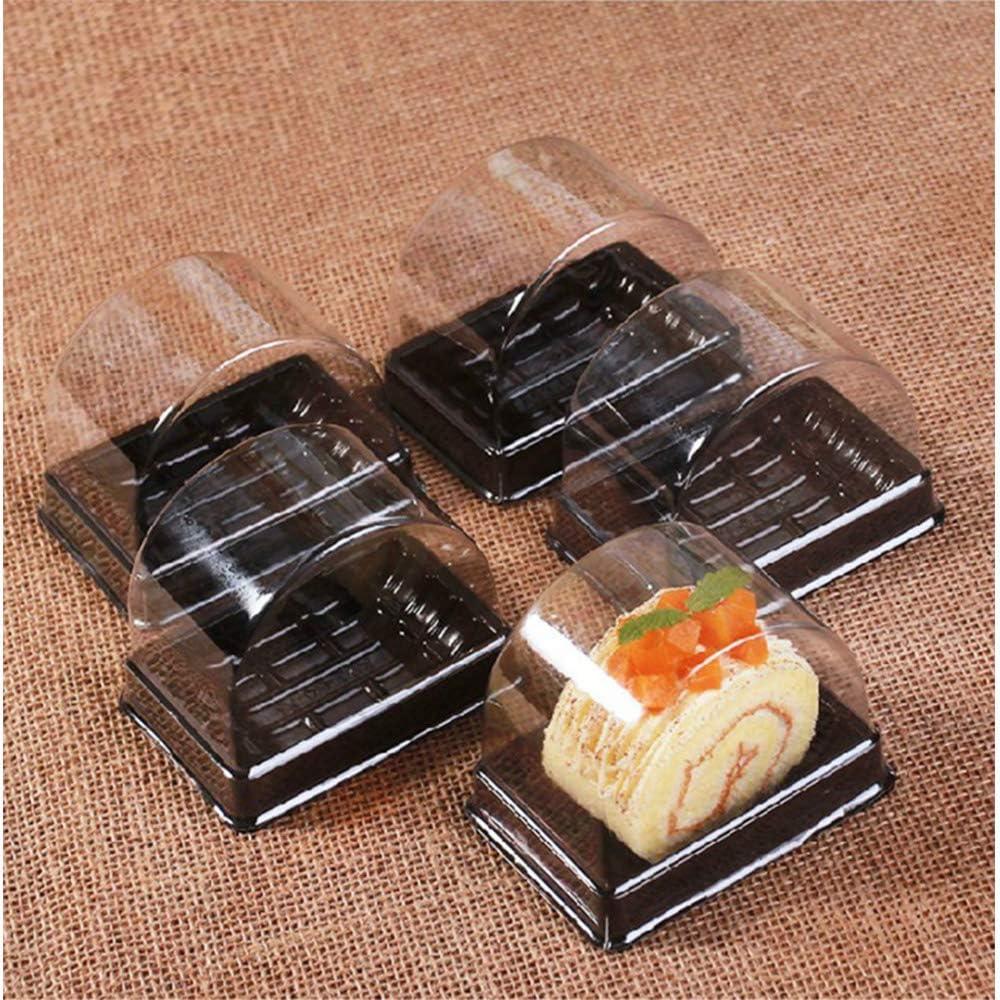 50 St/ück Rollen-Kuchenboxen Set Single Personal Swiss Roll Container mit transparenter Kuppel Kunststoff Muffin K/äse Dessert Sushi Obst Display Lebensmittel Aufbewahrung Halter 6,9 x 9,9 x 5,9 cm