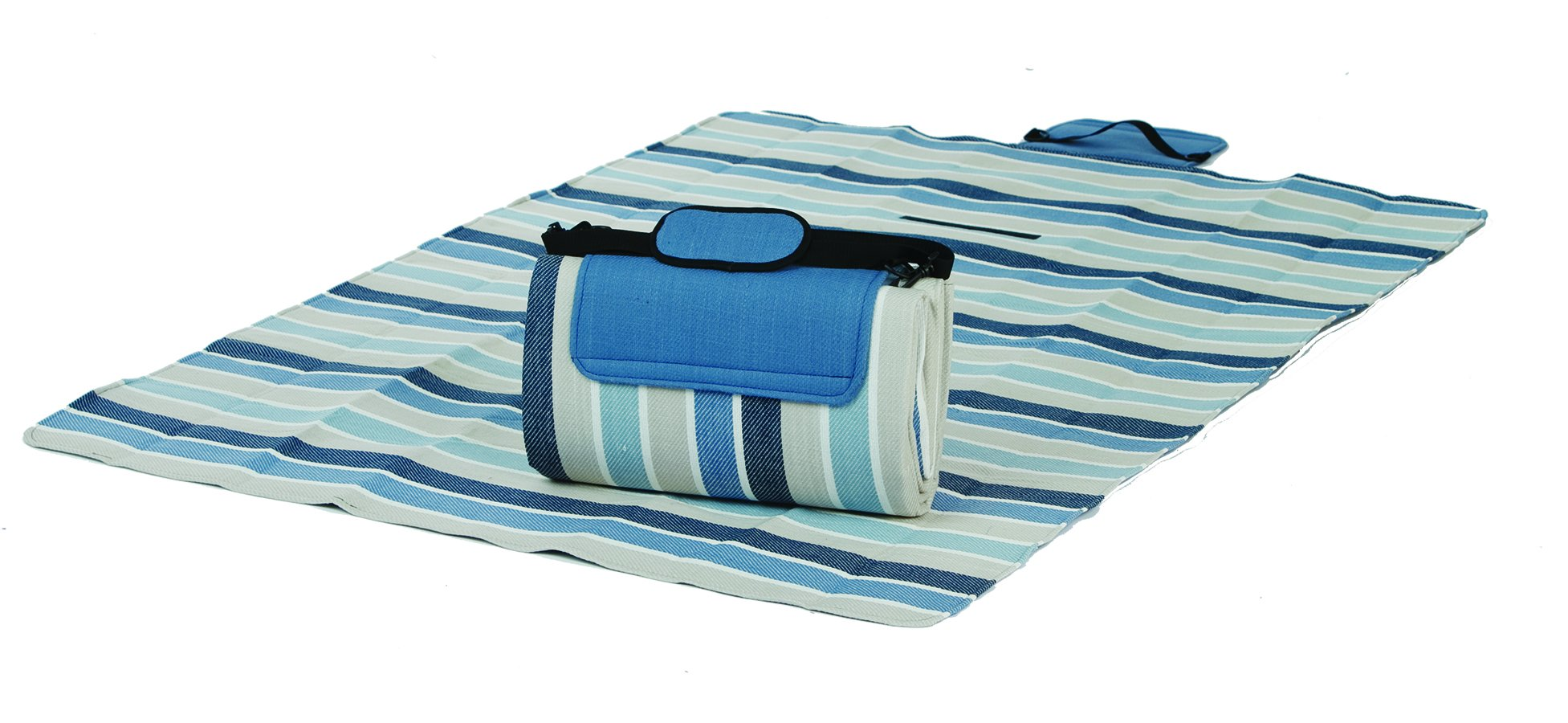 Mega Mat 100% Waterproof Backing All Season Picnic Blanket, Beach Mat And More Opens To 68''X 82'', Seats 4-6 Persons Plus Gear (Blue Stone Stripe)