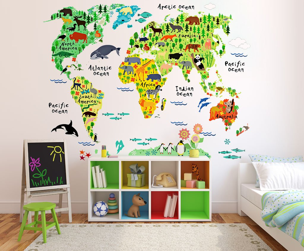 Buy Kids Educational Animal World Map Wall Stickers   EveShine Peel U0026 Stick  Home Decor Wall Art Sticker Mural Decals For Kids Baby Children Bedroom  Living ...