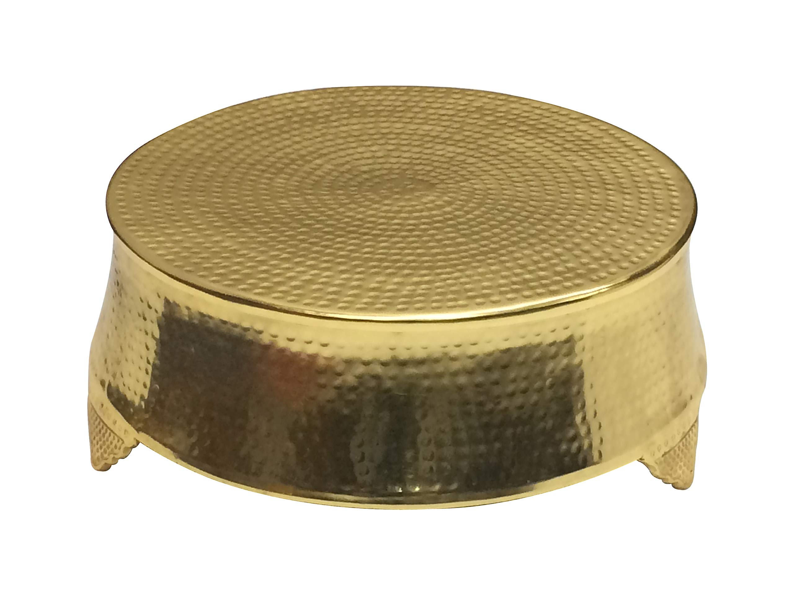 GiftBay Wedding Cake Stand Round 18'', Hammered Design, Gold Finish, Aluminum with Unique Tapered Sides