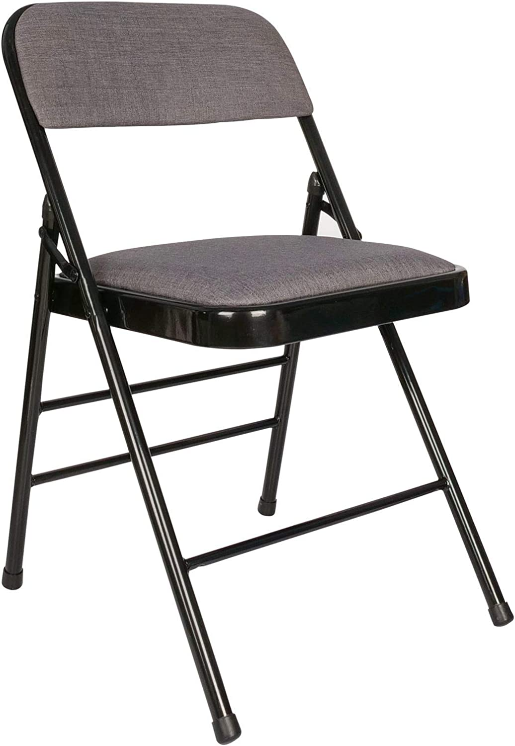 Cosy7 Nova Collection Deluxe Padded Fabric Folding Chairs Grey Set of 4 | Strong Steel Frame, Comfy Cushioned Seat, Foldable & Easy Store Away | For