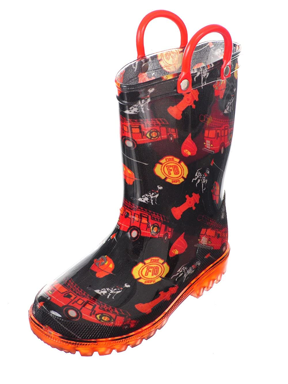 Chillipop Light up Rainboots for Boys, Girls & Toddlers with Fun Kid Prints with 5 Lights