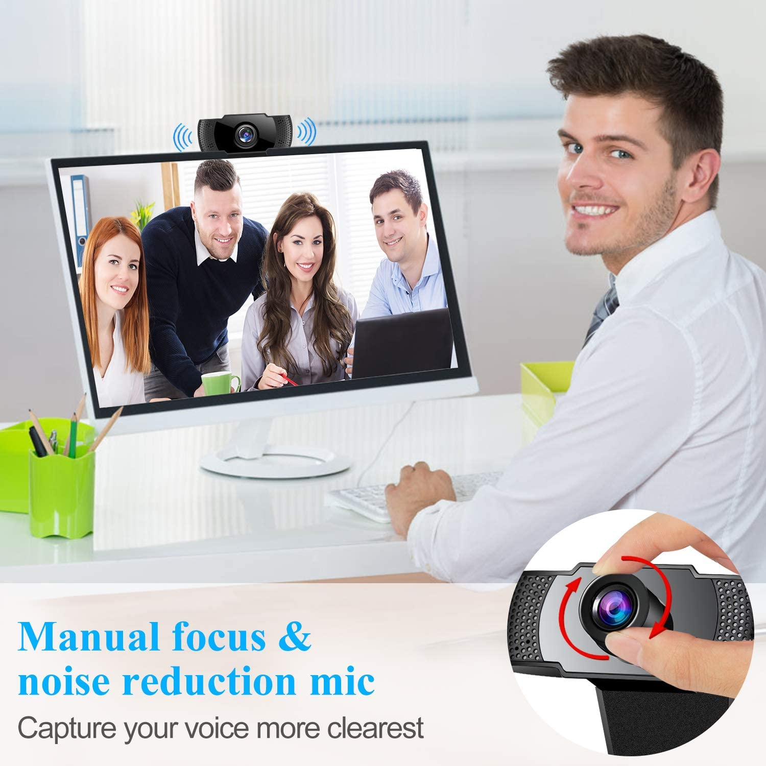 Webcam, Webcam with Microphone, USB Webcam with 3D Denoising and Automatic Gain, 1080p Webcam for Video Calling, Online Classes and Video Conference: Electronics