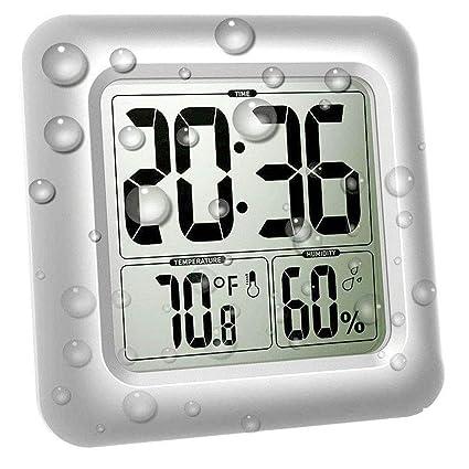 XJYA Gran Reloj de Pared Impermeable para duchas, Reloj Espejo Digital Baño Termómetro Higrómetro Medidor
