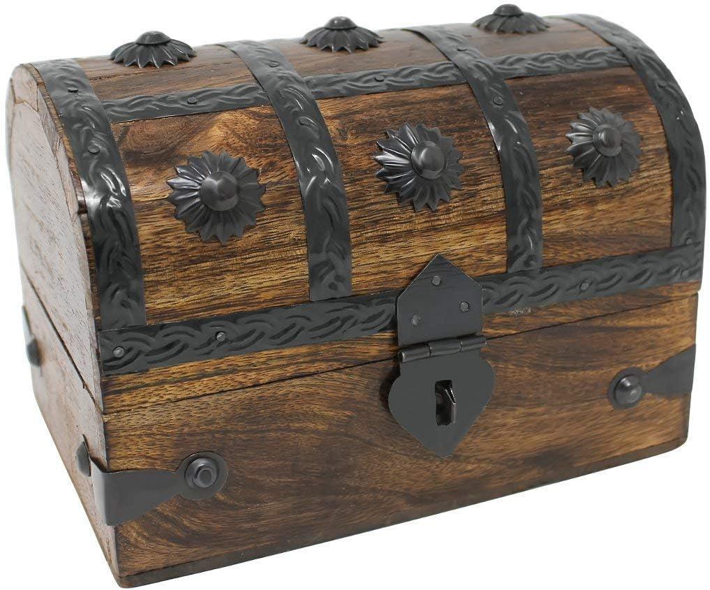 Nautical Cove Treasure Chest Keepsake and Jewelry Box Wood - Toy Treasure Box Medium (6.5x4.5x5)
