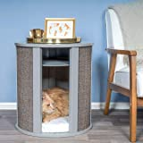 THE REFINED FELINE Purrrrfect Cat Bed End Table Nightstand with 2 Curved Sisal Scratching Post, Perfect Cat Scratcher Claw Pa