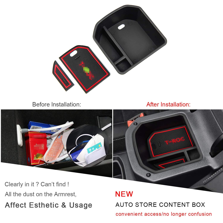 bianco Organizer per auto vano portaoggetti Console Storage Box inserto vassoio RUIYA Central Console Box bracciolo su misura per 2018 2019 T-ROC