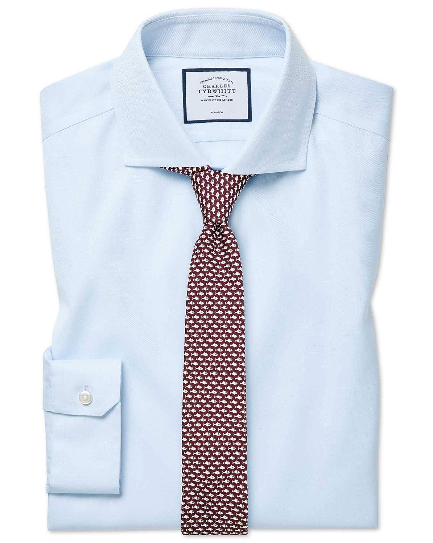 Chemise à Col Cutaway En Oxford De Coton Stretch Bleu Clair Super Slim Fit Sans Repassage   Bleu Clair (Poignet Simple)   14.5   32