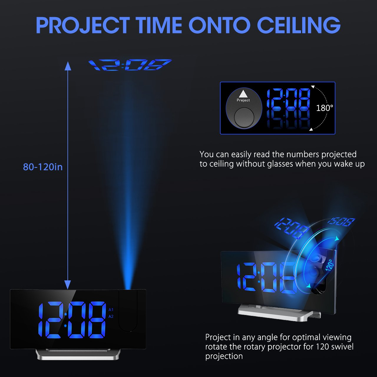 Digital Projection Clock, Atmoko FM Radio Alarm Clock With USB Charging  Port, Dual Alarms, Snooze Function, [Curved Screen] 5 Inch Large LED  Display With ...
