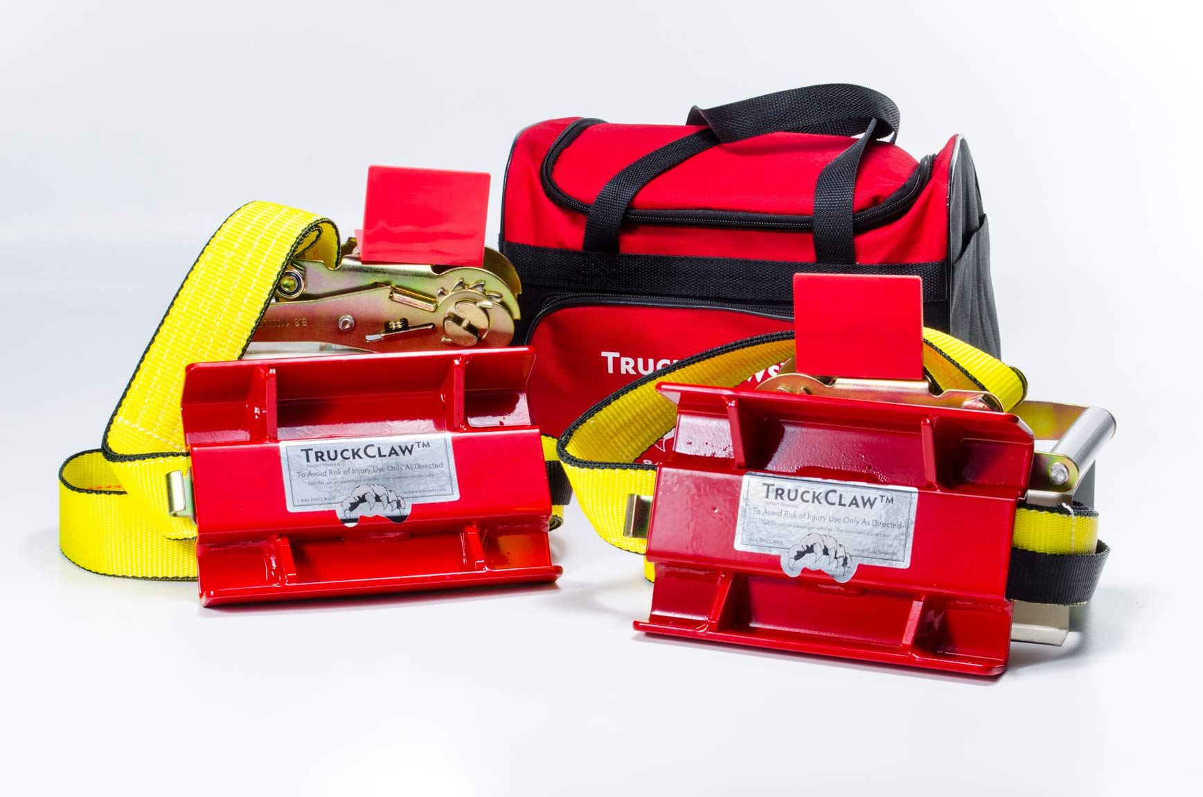 TruckClaws Commercial Truck Emergency Traction Aid Kit– (2) traction cleats, (2) 54 inch long straps, (2) heavy duty ratchets and (1) carry bag. For big rigs and large trucks with a GVW over 35,000lbs