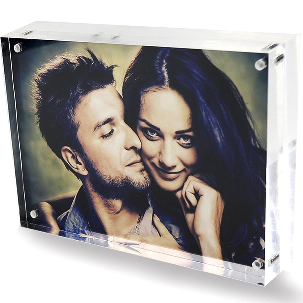 2018 Acrylic Frames,Clear 5x7 Double Sided Acrylic Picture Frame, Desktop Acrylic Magnetic Photo Frames,Picture Display Stand Holder for Family Love Baby First Day 5 by 7, 20% Extra Thick Blocks DYCacrlic