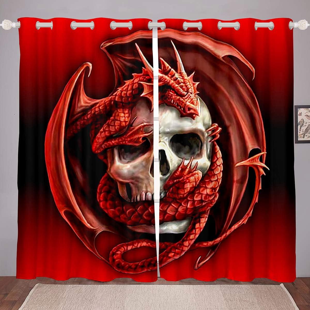 Erosebridal Skull Window Curtains Red Dragon Blackout Curtains Teens Boys Kids Gothic Sugar Skull Decor Window Drapes Terror Animal Dragon Skeleton Pattern Darkening Thermal Drapes 2 Panels 38