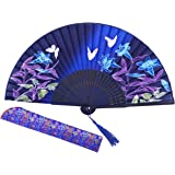 """Amajiji 8.27"""" Chinease/Japanese Hand Held Silk Folding Fan with Bamboo Frame,Hollow Carve Patterns Bamboo Frame Women Hand Folding Fans Hand Fan Gift fan Craft fan Folding Fan Dance Fan (HBSY-24)"""