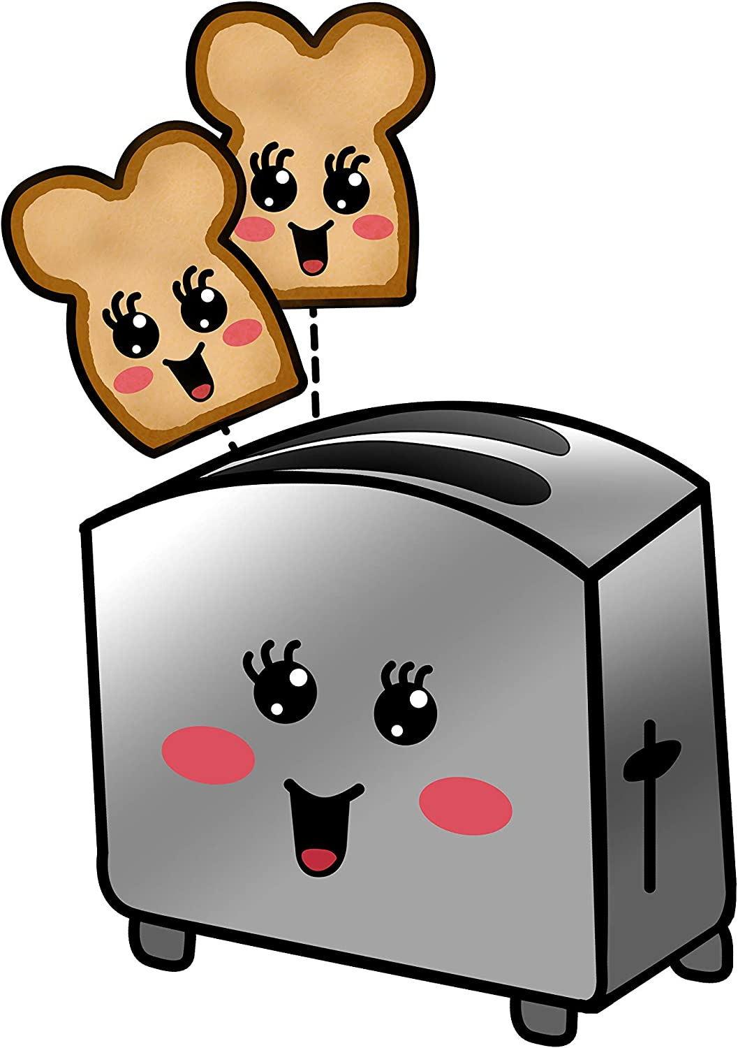 Happy Little Toasts Popping Out of Happy Toaster - Die Cut Vinyl Sticker (4 inches Tall)