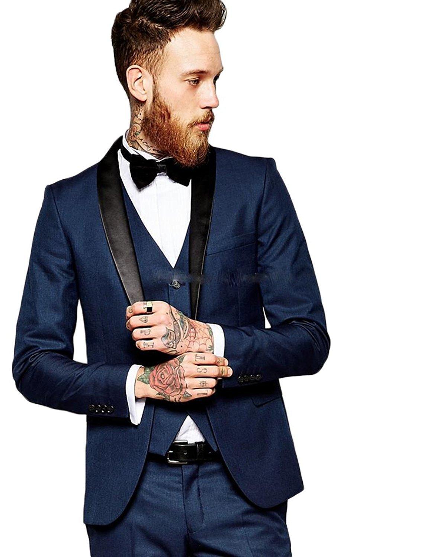 Lilis® Men's Fashion Suit Slim Fit Shawl Collar One Button 3 Piece Groomsmen Tuxedo LL17070804