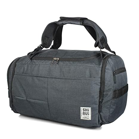 eac26e67467c SHIBUI Unisex Polyester Black Gym Bag with Shoe Compartment (Large)   Amazon.in  Bags