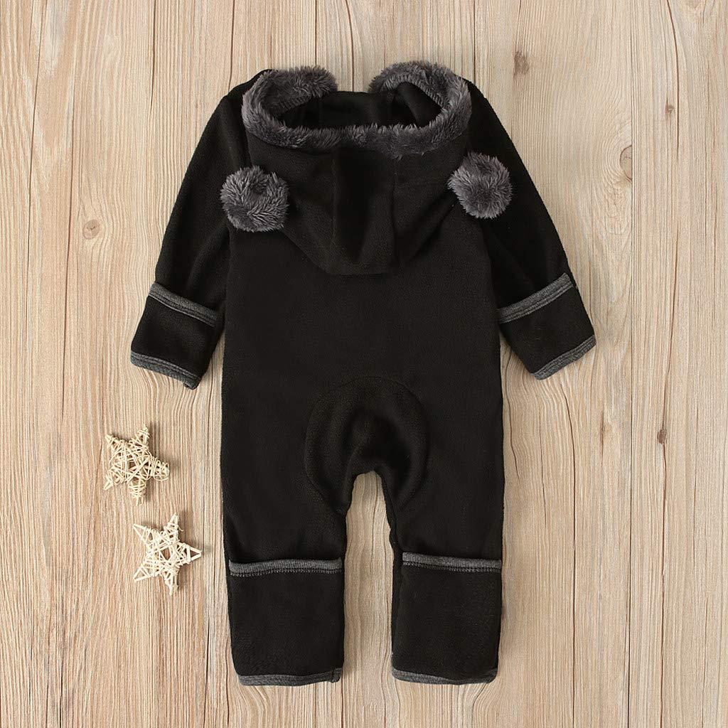 Staron Infant Baby Girls Boys Hoodies Coat Solid Cute Ears Hooded Romper Fleece Jumpsuits