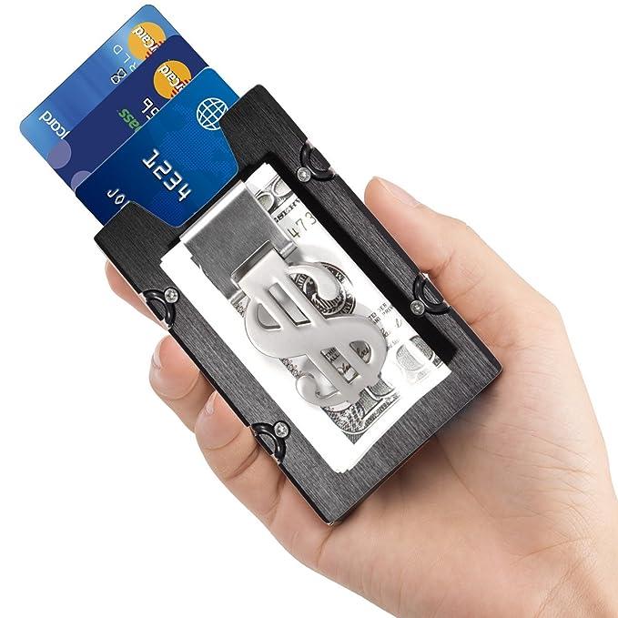 Hombre Tarjeteros - Negro Aluminio Delgado Billetera ManChDa Cartera de bolsillo delantera & Clip de dinero Minimalista Billetera Bloqueo de RFID Para ...