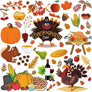 DUOFIRE Thanksgiving Window Cling Sticker Fall Leaf Turkey Squirrel Autumn Thanksgiving Decoration Stickers Double-Side 4 Sheets (Turkey and Food)