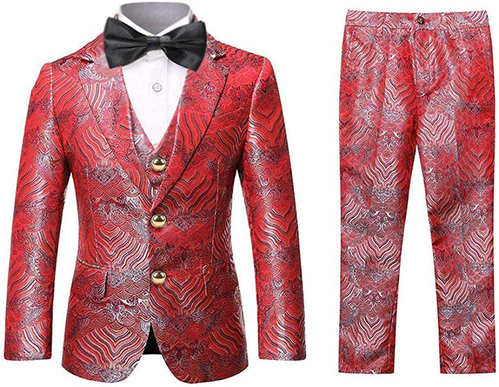 Boys Tuxedo Suit Fashion Dress 3 Pieces Blazer Vest Pants 4 Colors Weding Festive Attire