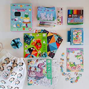 Box For Monkeys, Premium Kids Activity Pack, School Holiday Activities, Home or Travel Bundle for 6-9 Year Old, Card Making kit, Puzzle, Origami kit and Colouring Fun