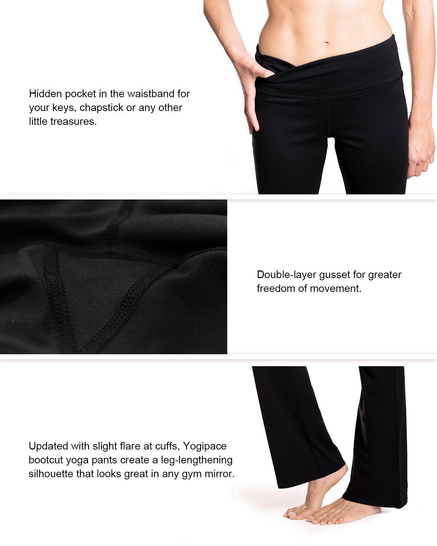 Yogipace 27''/28''/29''/30''/31''/32''/33''/35''/37'' Inseam,Petite/Regular/Tall, Women's Bootcut Yoga Pants Long Workout Pants, 28'', Black Size XS by Yogipace (Image #6)