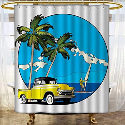 Anhounine Retro Shower Curtains Waterproof Graphic Design Nostalgic Chevy Car And A Sailer Guy In The