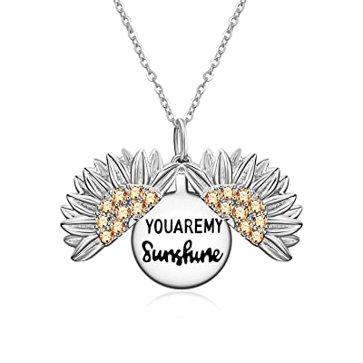 Sterling Silver /'You Are My Sunshine/' Pendant Necklace